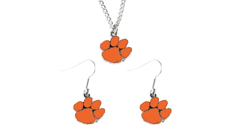 Clemson Tigers Necklace and Dangle Earring Charm Set NCAA a80dc7c9-98ac-4188-9491-22455d7b11f4