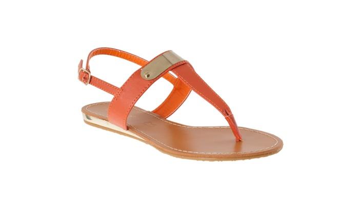 Riverberry Women's 'Saili' Metallic-detail Slingback Sandals, Orange