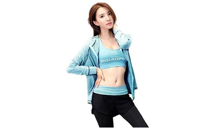 Women Yoga Sports Gym Fitness Workout Hoodies Bra Pants Set