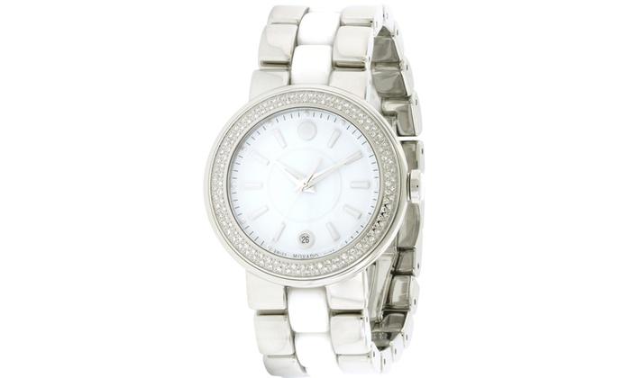 4385e7c53 Movado Cerena Stainless Steel Diamond Ladies Watch 0606624   Groupon