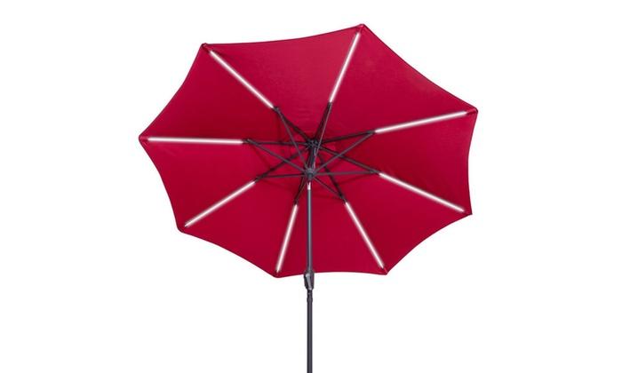 9 FT Patio Solar Umbrella LED Light Tilt Deck Waterproof Garden Market  Beach ...