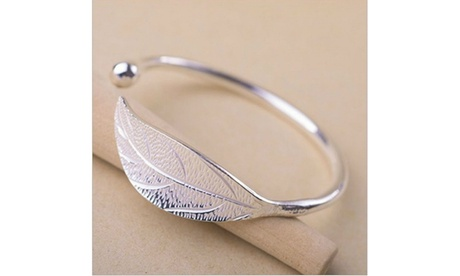 Elegant Ladies Leaves 925 Sterling Silver Opening Bangle Bracelet