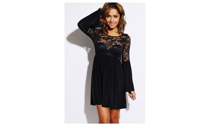 Women's Black Sheer Lace Bell Sleeve Retro Party Skater Dress - Black / one size