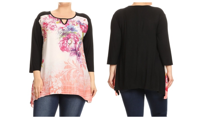 87dcebc2e36 Women Plus Size Floral Chiffon Solid Back Tunic Top Tee Blouse T-shirt ...