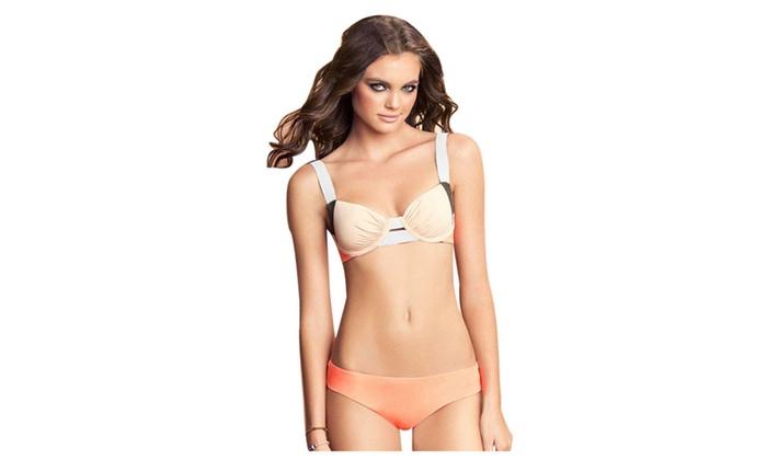 Women's Wide Elastic Straps Bikini Bathing Suit