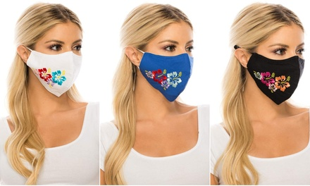 Adult Hawaiian Hibiscus Face Masks with 2.5PM Activated Carbon Filters (3-Pack)
