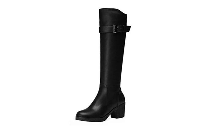 PerfectAZ Platform PU Vamp Belt And Buckle Knee High Long Boot Shoes