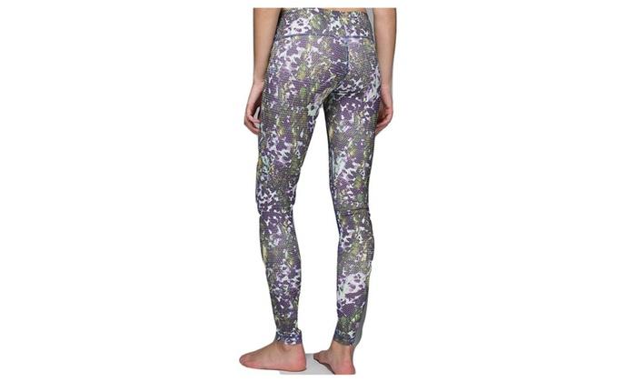 18f915ded Lululemon Wunder Under Yoga Pants Floral Sport Multi Green Purple ...