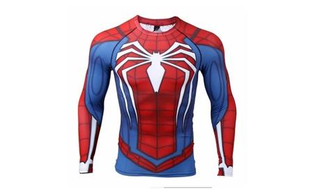 Raglan Sleeve Spiderman Long Sleeved Muscle Compression T-Shirt fa6fb076-2d70-486b-bb5c-e08d770f8bdc