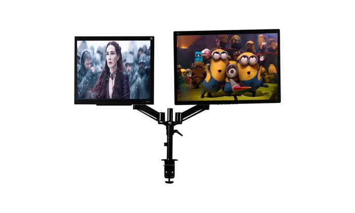 Dual LCD Monitor Spring Arms TV LCD Bracket Desk Mount Stand 2 Screens Up To 27/""
