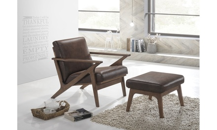 Bianca Walnut Wood Upholstered Lounge Chair And Ottoman Set