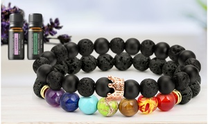 Lava Stone Chakra Diffuser Bracelet (2-Pk.) w/ Optional Essential Oils