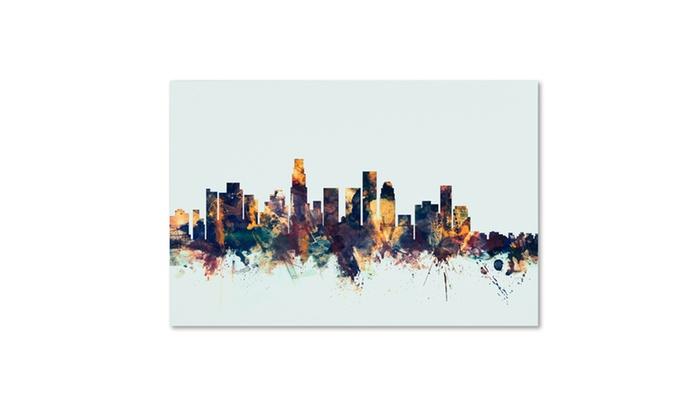 Michael Tompsett 'Los Angeles CA Skyline Blue' Canvas Art