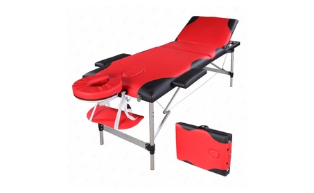 3 Sections Folding Aluminum Tube SPA Bodybuilding Massage Table Red 9e532414-416d-4f0e-b16a-500ae598990b