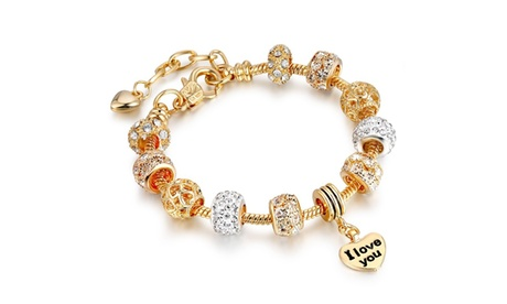 I Love You Heart Charm Crystal Bracelet Made With Crystals From Swarovski