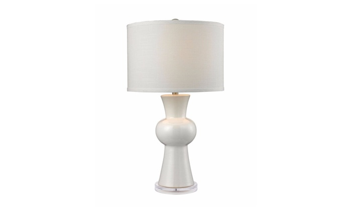 White Ceramic Table Lamp With Textured White Linen Hardback Shade
