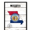 "Missouri State Map Accent Shabby Chic Flag 7""x9"" Framed Canvas Print"