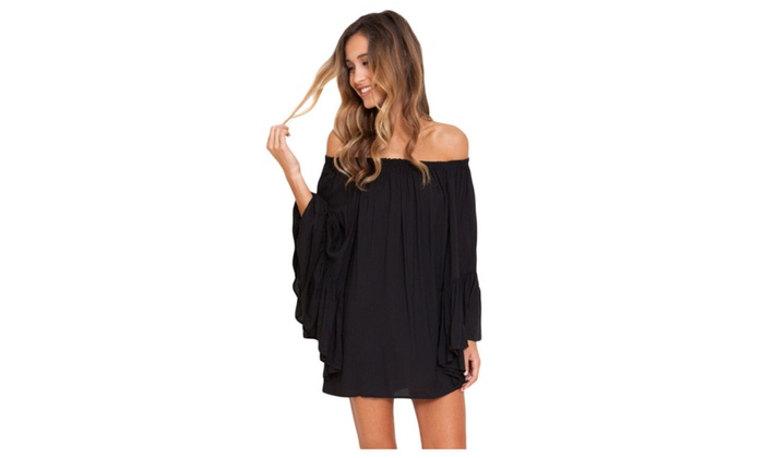 Women's Black Ethereal Chiffon Mini Dress - Black / one size