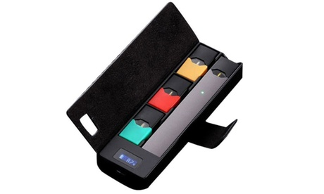 Juul Portable Charging Leather Case Pod Holder With LCD Indicator