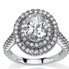 2.64 TCW CZ Halo Ring in Platinum Over Silver