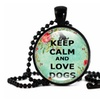 """New """"Keep calm and love dogs"""" Fashion Time Gem Necklaces Pendants"""