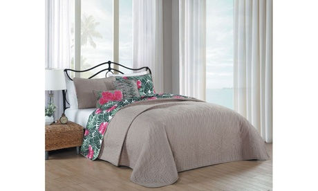 Tropical Paradise 5pc Quilt Set - Queen - Pink/Green 4e0bc630-a154-4dad-b510-59cd92975652