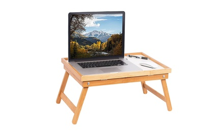 Foldable Wood Laptop Desk Bamboo Breakfast Bed Tray Lap Was: $30 Now: $14.25.