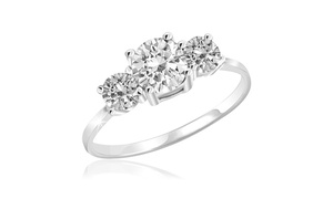 3 Stone White Topaz Ring in Sterling Silver - 3ST-WT-RNG