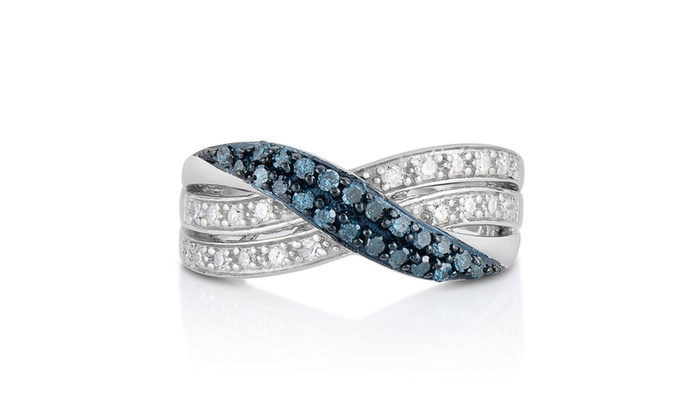 1 2cttw Blue And White Diamond Bypass Ring In Sterling