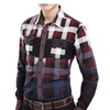 Men's Slim Fit Point Collar Button Down Plaid Long Sleeve Shirt