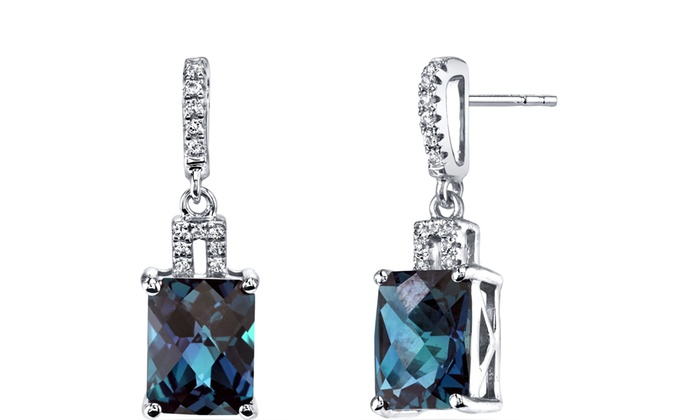 14k White Gold Created Alexandrite Earrings Radiant Checkerboard Cut 5 25 Carats