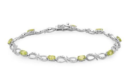 2.57 Ctw Sterling Silver Oval Peridot & Round Genuine Diamond Bracelet 251d44b8-8ca8-4474-8529-c96dd87dee9b