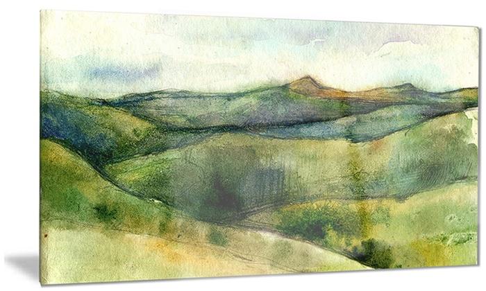 Metal Wall Art Mountain Landscapes : Green mountains watercolor landscape metal wall art