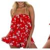Women Sling Sexy V Neck Elegant Off Shouder Print Short Dresses