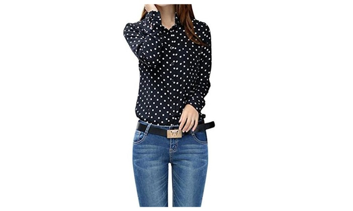 Quesera Women's Polka Dot Blouses Long Sleeve Collared Chiffon Button Down Shirt