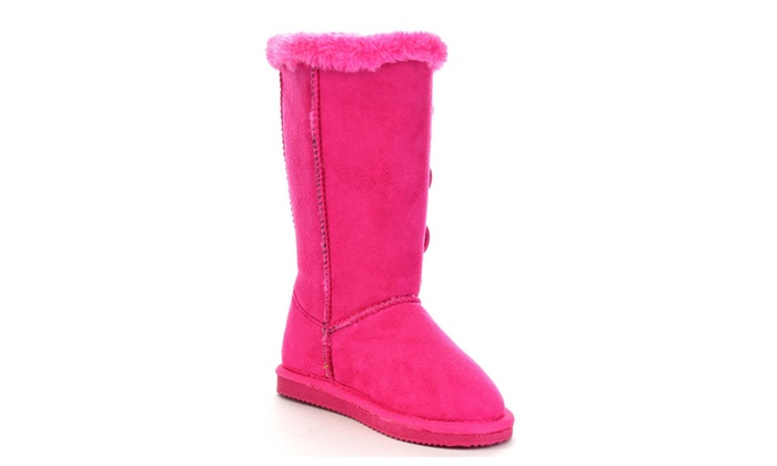 Beston FA31 Kid's Lovely Girl 4-Buttons Snow Warm Knee High Boots