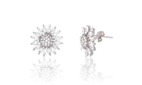 Sterling Silver CZ Flower Post Earring 5a601d0f-1e43-40d2-a9d6-6bdcc6b93bc9
