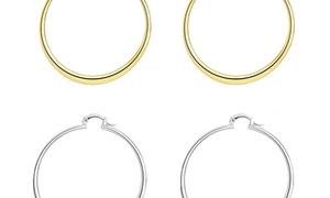 """2 PACK: 18K Gold Plated Flat Round 2"""" Hoop Earring - in White Gold & Gold"""