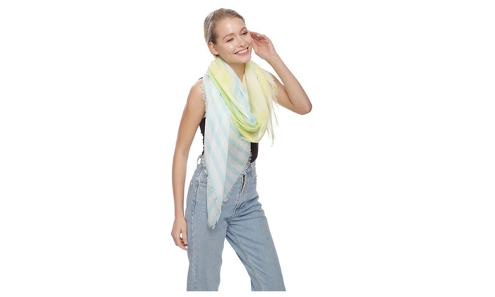 Women's Stripe & Brush Stroke Scarf