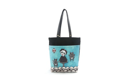 Sleepyville Critters Sugar Skull Skeleton Girl with Kittens Tote Purse (Goods Women's Fashion Accessories Handbags Totes) photo