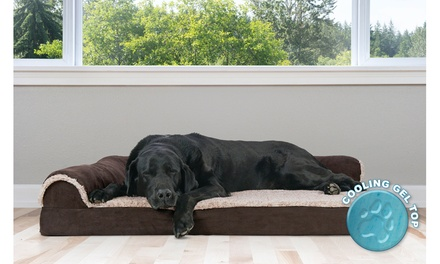 Furhaven Memory-Foam Chaise Lounge Dog Bed with Cooling Gel