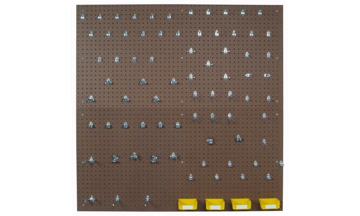 2) 24x48x1/4 Pegboards, 79 Hooks,4Bins
