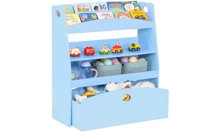 Kids Toy Storage and Bookshelf, Children's Organizer Cabinet Unit for Playroom