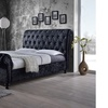 Castello Velvet-Upholstered Queen or King Sleigh Platform Bed