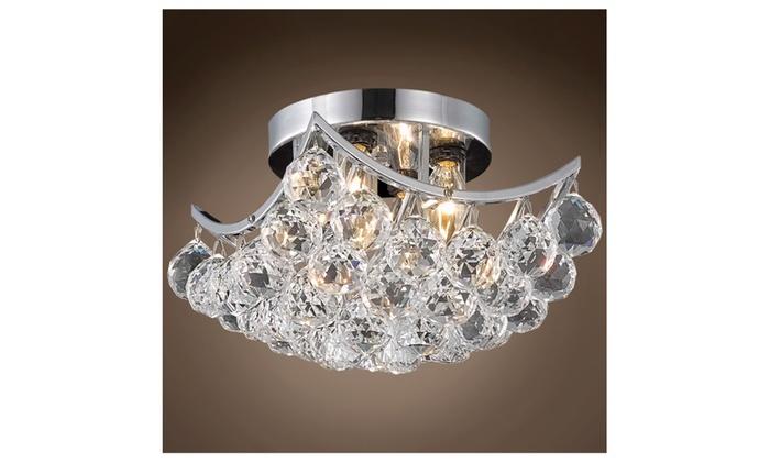 Modern 4-Light 8 inch Square Crystal Flush Mount Ceiling Light Fixture