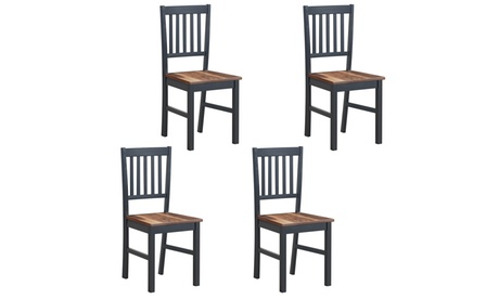 Set of 4 Dining Chair Kitchen Spindle Back Side Chair with Solid Wooden Legs