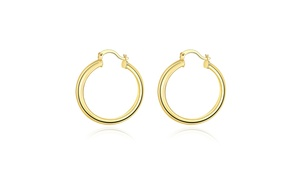 Solid Hoop Earrings In 14K Gold Plating - Multiple Options Available