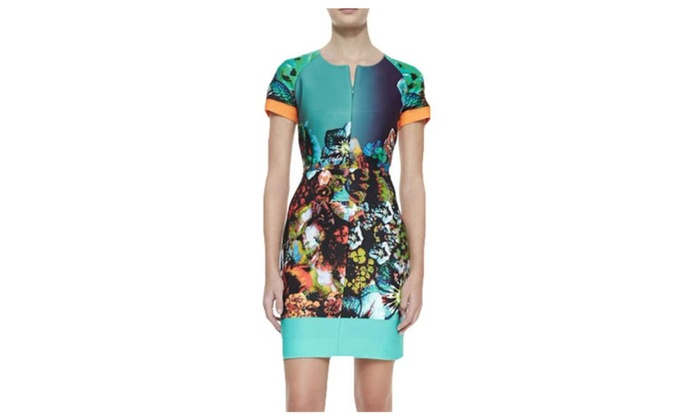 Women's Slim Fit Printed Collarless Short Sleeve Dress