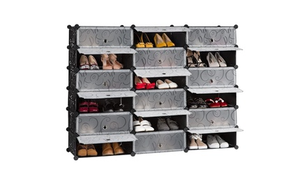 Plastic Storage Shoe Rack,Modular closet cabinet with Doors(18/21-Cube)