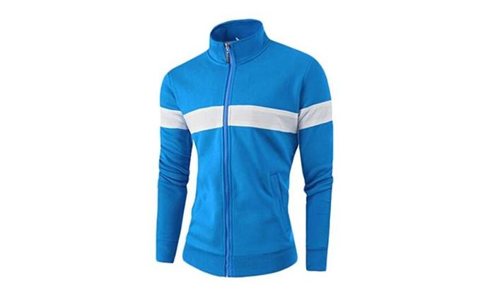 Mens Slim Fit Long Sleeve Stand Collar Sport Sweatshirts